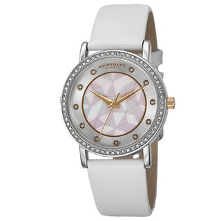 Akribos XXIV Women's Dial Quartz Crystal-Accented Leather White Strap Watch