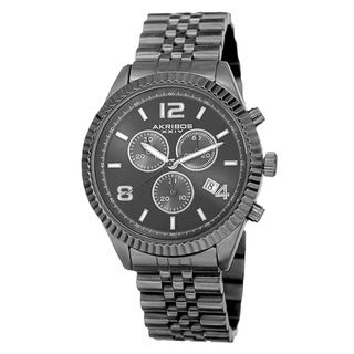 Link to Akribos XXIV Men's Swiss Quartz Chronograph Stainless Steel Black Bracelet Watch Similar Items in Men's Watches