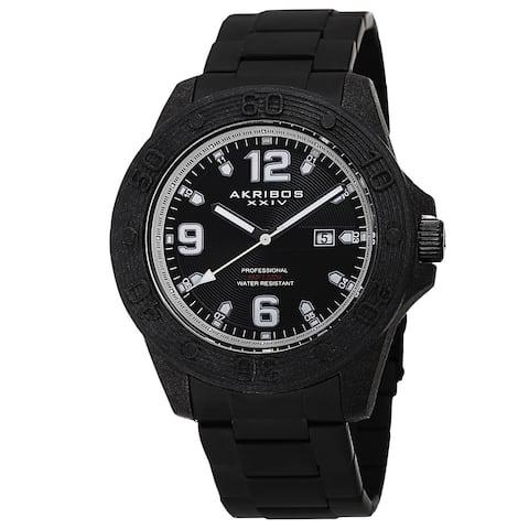 Akribos XXIV Men's Quartz Divers Stainless Steel White Bracelet Watch