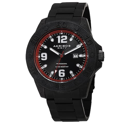 Akribos XXIV Men's Quartz Divers Stainless Steel Red Bracelet Watch