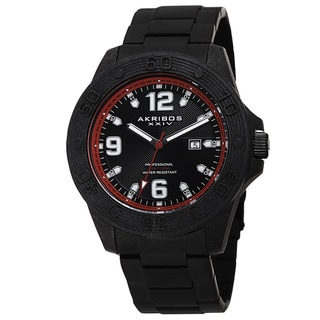 Link to Akribos XXIV Men's Quartz Divers Stainless Steel Red Bracelet Watch Similar Items in Men's Watches
