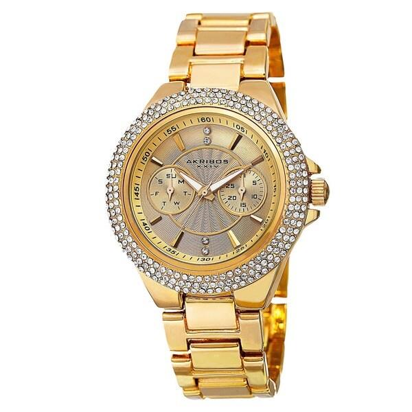 Akribos XXIV Women's Dazzling Swiss Quartz Multifunction Crystal Bezel Gold-Tone Bracelet Watch. Opens flyout.