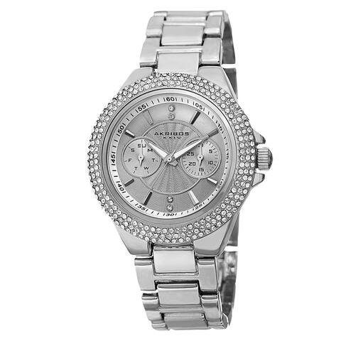 Akribos XXIV Women's Dazzling Swiss Quartz Multifunction Crystal Bezel Silver-Tone Bracelet Watch