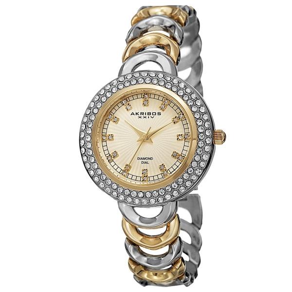 Akribos XXIV Women's Quartz Diamond Markers Two-Tone Bracelet Watch