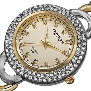 Akribos XXIV Women's Quartz Diamond Markers Two-Tone Bracelet Watch with FREE GIFT