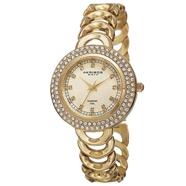 Akribos XXIV Women's Quartz Diamond Markers Gold-Tone Bracelet Watch with FREE GIFT