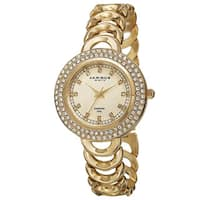 Akribos XXIV Women's Quartz Diamond Markers Gold-Tone Bracelet Watch