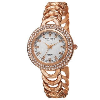 Akribos XXIV Women's Quartz Diamond Markers Rose-Tone Bracelet Watch