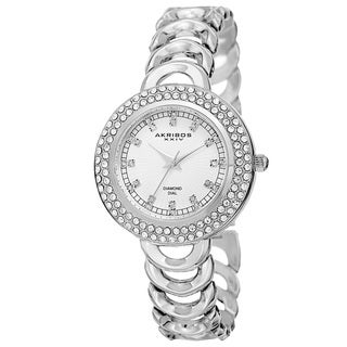 Akribos XXIV Women's Quartz Diamond Markers Silver-Tone Bracelet Watch