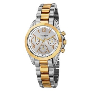 Akribos XXIV Women's Swiss Quartz Dual-Time Multifunction Two-Tone Bracelet Watch