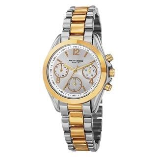 Akribos XXIV Women's Swiss Quartz Dual-Time Multifunction Two-Tone Bracelet Watch