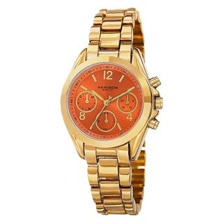 Akribos XXIV Women's Swiss Quartz Dual-Time Multifunction Gold-Tone Bracelet Watch with FREE Bangle