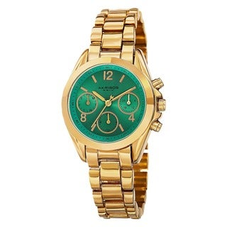Akribos XXIV Women's Swiss Quartz Dual-Time Multifunction Gold-Tone Bracelet Watch
