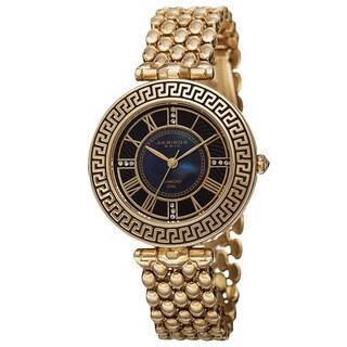 Akribos XXIV Women's Quartz Diamond Markers Unique Gold-Tone Bracelet Watch