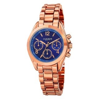 Akribos XXIV Women's Swiss Quartz Dual-Time Multifunction Rose-Tone Bracelet Watch