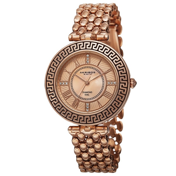 Akribos XXIV Women's Quartz Diamond Markers Unique Rose-Tone Bracelet Watch with FREE Bangle