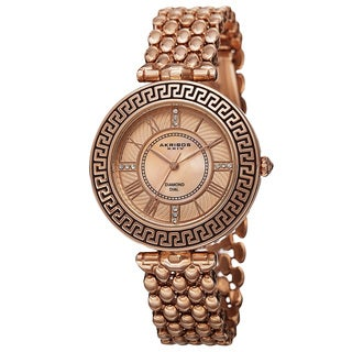 Akribos XXIV Women's Quartz Diamond Markers Unique Rose-Tone Bracelet Watch