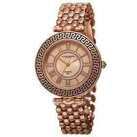 Akribos XXIV Women's Quartz Diamond Markers Unique Rose-Tone Bracelet Watch