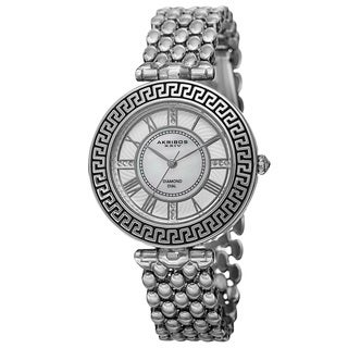 Akribos XXIV Women's Quartz Diamond Markers Unique Silver-Tone Bracelet Watch