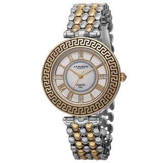 Akribos XXIV Women's Quartz Diamond Markers Unique Two-Tone Bracelet Watch