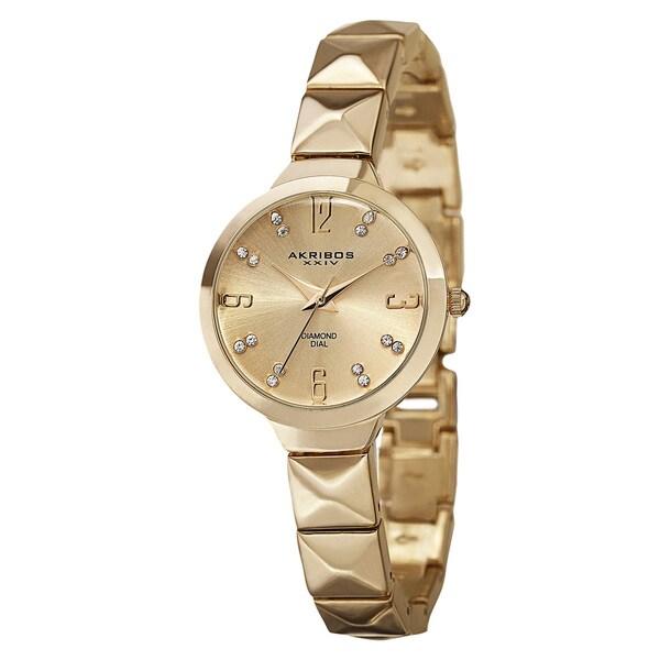 Akribos XXIV Women's Swiss Quartz Diamond Markers Gold-Tone Bracelet Watch with FREE Bangle