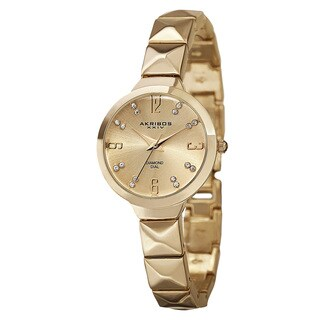 Akribos XXIV Women's Swiss Quartz Diamond Markers Gold-Tone Bracelet Watch with FREE Bangle