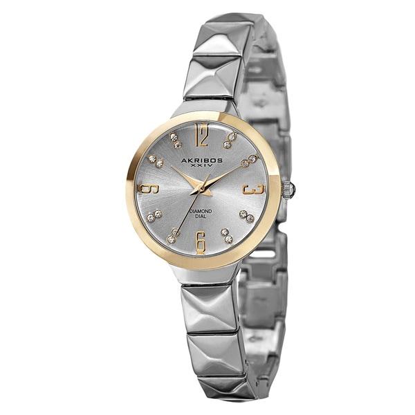 Akribos XXIV Women's Swiss Quartz Diamond Markers Silver-Tone Bracelet Watch
