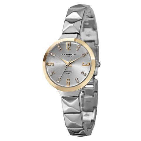 Akribos XXIV Women's Swiss Quartz Diamond Markers Silver-Tone Bracelet Watch Gifts for Her