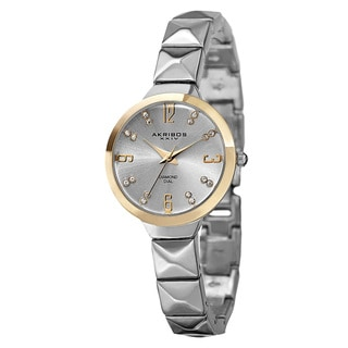Akribos XXIV Women's Swiss Quartz Diamond Markers Silver-Tone Bracelet Watch with GIFT BOX