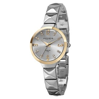 Akribos XXIV Women's Swiss Quartz Diamond Markers Silver-Tone Bracelet Watch with FREE Bangle