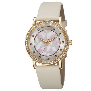 Akribos XXIV Women's Dial Quartz Crystal-Accented Leather Gold-Tone Strap Watch
