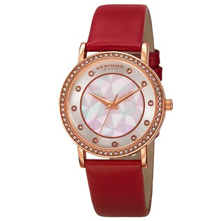 Akribos XXIV Women's Mother of Pearl Dial Crystal-Accented Leather Strap Watch (Option: Red Strap, Rose-tone Case)