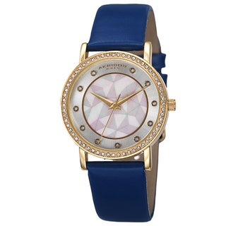 Akribos XXIV Women's Mother of Pearl Dial Crystal-Accented Leather Strap Watch (Option: Blue Strap, Yellow Gold-tone Case)