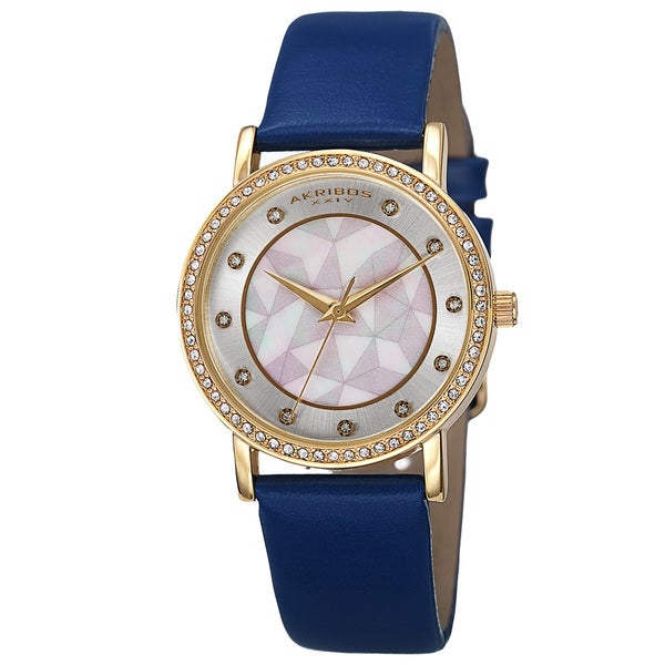 Akribos XXIV Women's Mother of Pearl Dial Crystal-Accented Leather Strap Watch with FREE Bangle