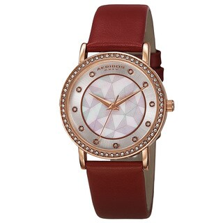Akribos XXIV Women's Dial Quartz Crystal-Accented Leather Red Strap Watch