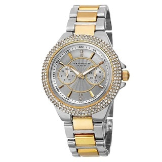 Link to Akribos XXIV Women's Dazzling Swiss Quartz Multifunction Crystal Bezel Two-Tone Bracelet Watch Similar Items in Women's Watches