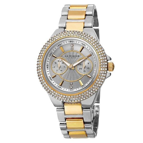 Akribos XXIV Women's Dazzling Swiss Quartz Multifunction Crystal Bezel Two-Tone Bracelet Watch. Opens flyout.