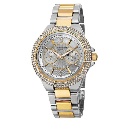 Akribos XXIV Women's Dazzling Swiss Quartz Multifunction Crystal Bezel Two-Tone Bracelet Watch