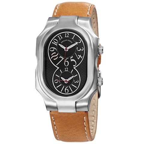 Philip Stein Women's 'Signature' Black Dial Tan Leather Strap Watch