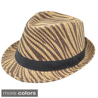LA77 Zebra Print Fedora Hat