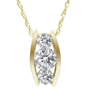 14k Yellow Gold 1/ 2ct TDW 3-stone Diamond Necklace (I-J, I2-I3)