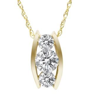 14k Yellow Gold 1/ 2ct TDW 3-stone Diamond Necklace