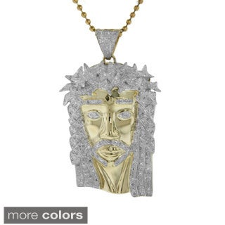 10k Gold 4/5ct TDW Genuine Diamond Jesus Necklace with Pendant