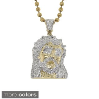 10k Gold 1/6ct TDW Diamond Jesus Necklace (G-H, I2-I3)