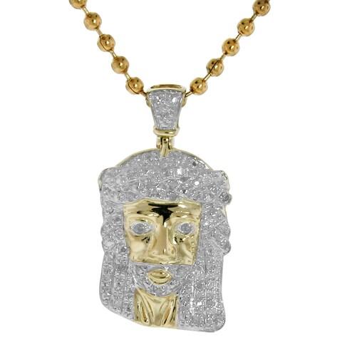 10k Gold 1/6ct TDW Diamond Jesus Necklace