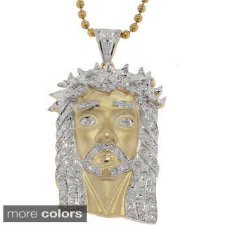 10k Yellow, White Gold .37ct TDW Diamond Jesus Pendant
