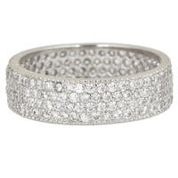 Decadence Sterling Silver Cubic Zirconia 4-strand Micro Pave Eternity Ring