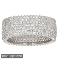 Decadence Sterling Silver Cubic Zirconia 7-strand Micro Pave Eternity Ring