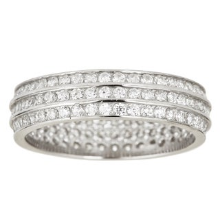 Decadence Sterling Silver Cubic Zirconia 3-strand Micro Pave Eternity Rings