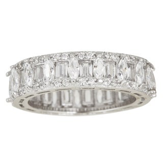 Decadence Sterling Silver Cubic Zirconia Marquise and Emerald Cut Micro Pave Eternity Ring
